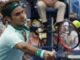 �v�carsk� tenista Roger Federer b�hem fin�le turnaje v Cincinnati, porazil...