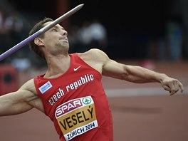 Vítězslav Veselý v kvalifikaci oštěpařů na mistrovství Evropy v Curychu.