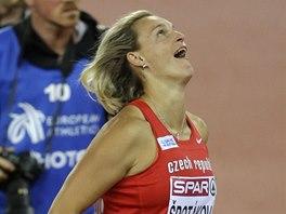 JÁ TO ZVLÁDLA. Barbora Špotáková po triumfu na ME  v Curychu.