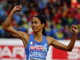 Italská čtvrtkařka Libania Grenotová po vítězství v závodu na 400 metrů na