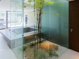 Skleněný tubus s japonskou zahradou spojuje přízemí s podkrovím.