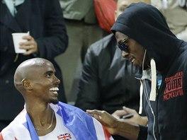 Usain Bolt (vpravo) coby host atletického mistrovství Evropy v Curychu a Mo...