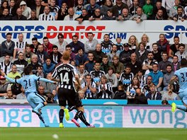 David Silva (vlevo) z Manchesteru City p�esn� p�lil v utk�n� proti Newcastlu.
