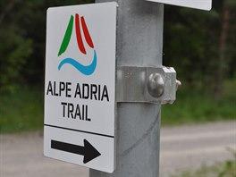 Značení cyklostezky Alpe Adria