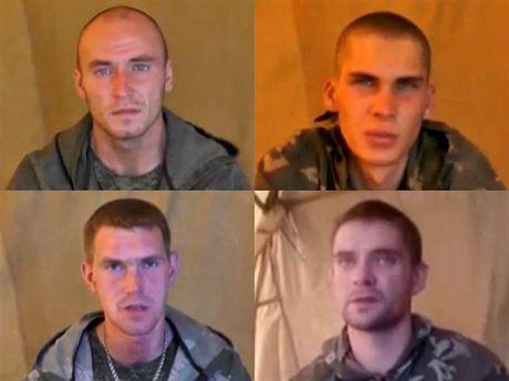 �ty�i zajatí ru�tí výsadká�i na záb�rech zve�ejn�ných ukrajinskou rozv�dkou...