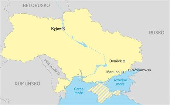 Mapa Ukrajina Novoazovsk