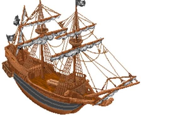 Loď, která na začátku hry ztroskotá. Obrázek pochází z archivů Jaroslava Koláře.