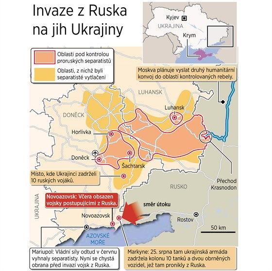 Invaze z Ruska na jih Ukrajiny