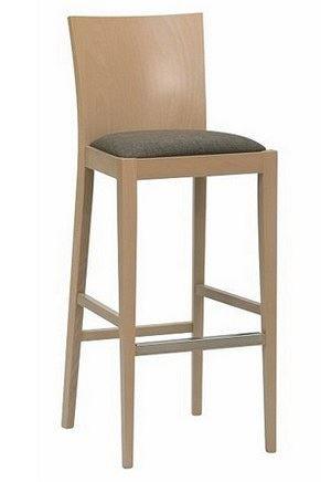 Tradiční barová židle – kombinace dřevo a čalouněné sedátko