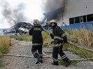 Požár tiskárny v Doněcku (24. srpna 2014)