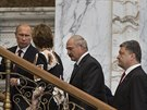Summit v Minsku. Zleva: ruský prezident Vladimir Putin, šéfka unijní diplomacie...