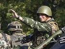 Ukrajinské jednotky u obce Sachanka (27. srpna 2014)