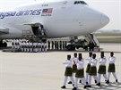 V Kuala Lumpur přistál speciál s rakvemi obětí letu MH17 (22. srpna 2014).