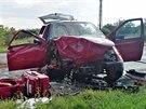 Nehoda na silnici mezi Brnem a Vyškovem poblíž Holubic (19. srpna 2014).