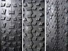 Různé vzorky plášťů na MTB od němekého výrobce Schwalbe.