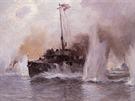 Rakousko - uhersk� torp�doborec Ulan v bitv� u Antivari.