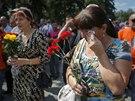 Stoupenci proruských separatistů se sešli v centru Doněcku. (24. srpna 2014)
