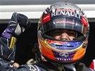 ZAŤATÁ PĚST. Daniel Ricciardo po vítězství ve Velké ceně Belgie formule 1.