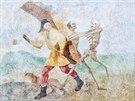 Odkryté barokní malby z cyklu Tance smrti na Kuksu (20.8.2014).