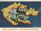 """Německá pohlednice vydaná jako dík vůdci za """"osvobození Sudet"""" v roce 1938."""