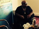 CeeLo Green p�i rozhovorech p�ed vystoupen�m na Hip Hop Kempu 2014.