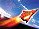 Experimentální zbraň Advanced Hypersonic Weapon v představě ilustrátora.