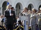 Na vojenské přehlídce promluvil ukrajinský prezident Petro Porošenko (24. 8.