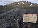 Varování na cestě směřující k sopce Bárdarbunga. Island již v sobotu vydal