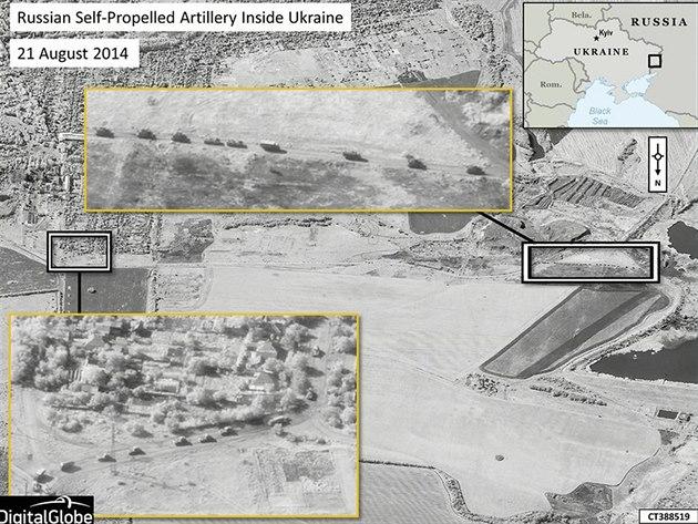 Satelitní snímky z 21. srpna podle NATO dokazují, �e na Ukrajin� operuje ruská...