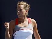 ANO! Česká tenistka Barbora Záhlavová-Strýcová se raduje z postupu do 3. kola...