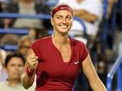 VÍT�ZNÝ ÚSM�V. Petra Kvitová v semifinále turnaje v New Havenu.