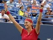VÍTĚZNÝ ÚSMĚV. Petra Kvitová po triumfu na turnaji v New Havenu.