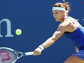 �eská tenistka Lucie �afá�ová v duelu 3. kola US Open s Francouzkou Cornetovou.