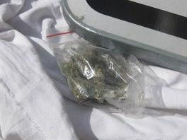 Sáček s marihuanou, který měl dvacetiletý mladík z Varnsdorfu v batohu.