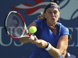 Česká tenistka Petra Kvitová v souboji 1. kola US Open s Kristinou...