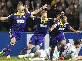 Fotbalisté slovinského Mariboru se radují z postupu do Ligy mistrů.