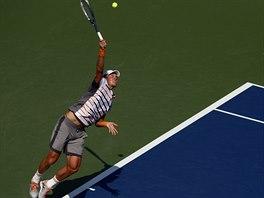 Tomáš Berdych v duelu 1. kola US Open s Lleytonem Hewittem z Austrálie.