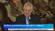 Prezident Milo� Zeman po setkání s odbory k sankcím