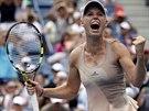 POSTUPOVÝ ŘEV. Dánská tenistka Caroline Wozniacká se raduje z postupu do...