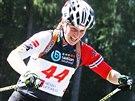 Veronika Vítková při mistrovství republiky v biatlonu na kolečkových lyžích.