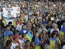 Tisíce stoupenců jednotné Ukrajiny se sešly v Mariupolu (28. srpna 2014)