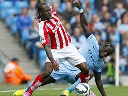 S M��EM. Victor Moses ze Stoke City (vlevo) a Bacary Sagna z Manchesteru City.