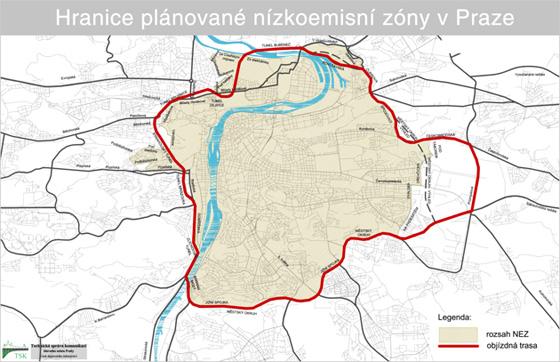 Hranice a obj�zdn� trasa pl�novan� n�zkoemisn� z�ny v Praze