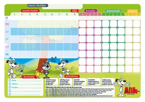 Rozvrh hodin celodenní, včetně kroužků a denních povinností (ilustrační obrázek z roku 2014, rozvrh 2015/ 2015 stahujte z výše uvedených odkazů)