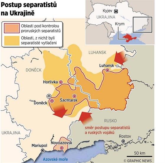 MAPA: Postup separatistů na Ukrajině