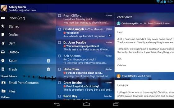Oproti aplikaci Gmail umí mobilní klient e-mailové schránky na Yahoo pracovat...