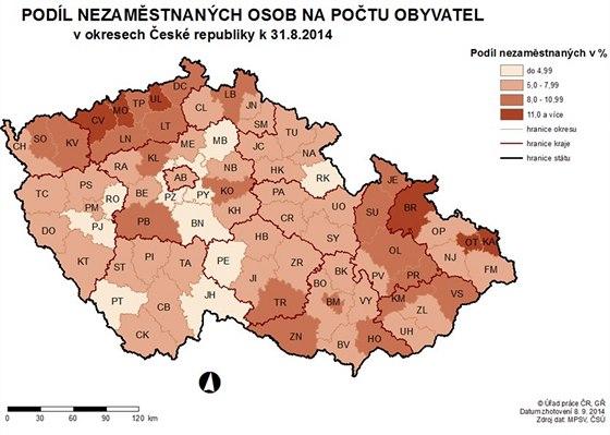 Nezaměstnanost okresy ČR srpen 2014