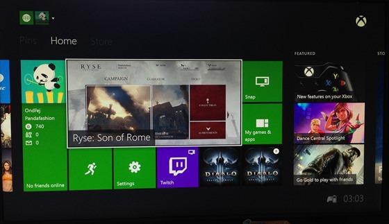 Základní obrazovka Xbox One