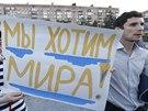 My chceme mír! Protiválečná demonstrace v Mariupolu (4. září 2014)
