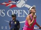 Čínská tenistka Pcheng Šuaj se raduje z povedené výměny ve čtvrtfinále US Open.